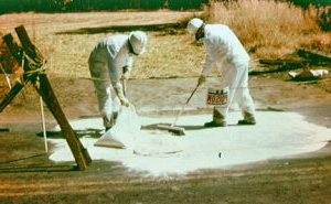 Two men sweeping a spill